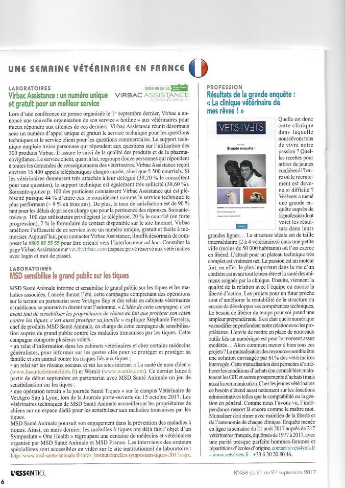 Article vets4vets L'essentiel nb 458 du 21 sept 2017